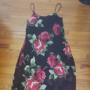 Maxi slip dress with mesh overlay
